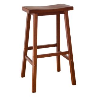 Winsome Wood 29 Inch RTA Single Saddle Seat Bar Stool   Walnut Brown   94089
