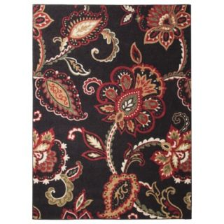 Maples Exploded Floral Area Rug   Black (5x7)