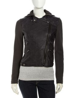 Hooded Faux Leather Zip Moto Jacket, Black