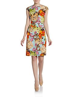 Ruched Silk Floral Cap Sleeve Dress   Spectrum