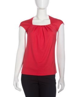 Pleated Neck Cap Sleeve Top, Grenadine