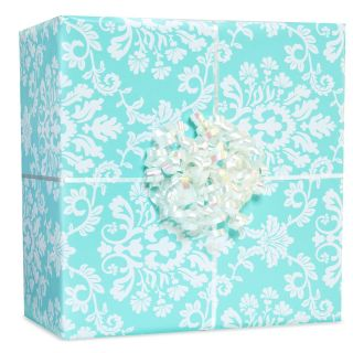 Robins Egg Blue Brocade Gift Wrap Kit