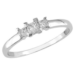 10K White Gold Diamond 3 Stone Ring Silver 6.0