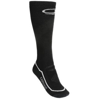 Icebreaker Ski Midweight Socks   Merino Wool  Over the Calf (For Women)   BLACK/WHITE/BLACK (M )