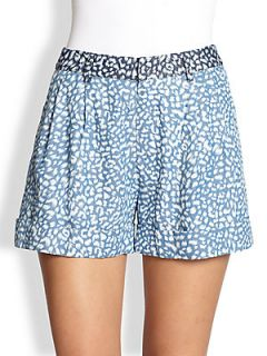 Line & Dot Leopard Print Denim Shorts   Indigo Mini Leopard