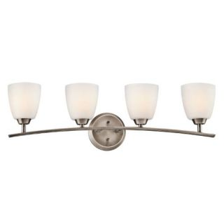 Kichler 45361BPT Bathroom Light, Transitional Bath 4Light Fixture Brushed Pewter