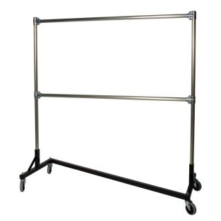 Heavy Duty Steel 500 lb. Capacity Z Rolling Rack with 2 Hangrails Red   260722R