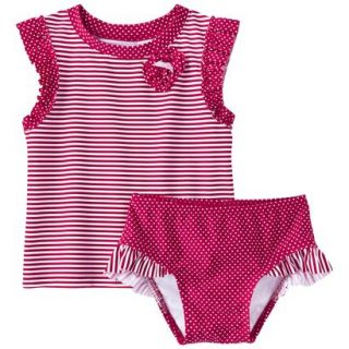 Circo Infant Toddler Girls Stripe Rashguard Set   12 M