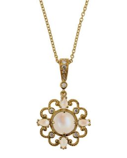 Yellow Gold Diamond Moonstone Pendant Necklace