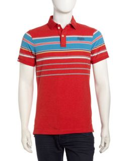 Striped Cotton Polo Shirt, Red