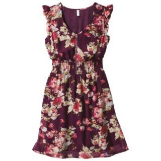 Xhilaration Juniors Printed Ruffle Fit & Flare Dress   Cabernet M(7 9)