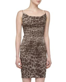 Ruched Leopard Print Cocktail Dress, Taupe