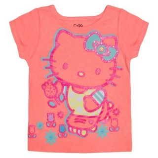 Hello Kitty Infant Toddler Girls Short Sleeve Tee   Apricot Orange 3T