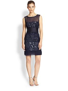 Nicole Miller Silk Sequin Dress   Marine