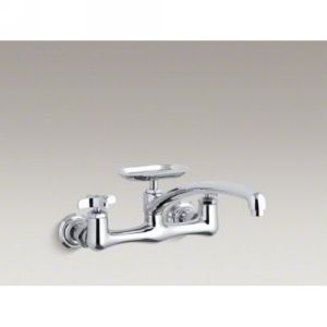 Kohler K 7856 3 CP Clearwater Two Handle Wall Mounted Kitchen Faucet with Soap D