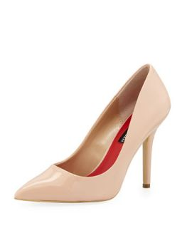 Polly Patent Pointed Toe Pump, Nude