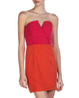 Bombshell Two Tone Dress, Pop Pink/Orange Crush