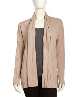 Multi Pleat Shawl Collar Cardigan, Light Beige