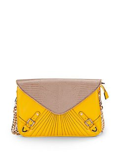 The Maria Colorblock Leather Shoulder Bag   Sunny