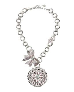 Crystal Bow Medallion Pendant Necklace, Pink