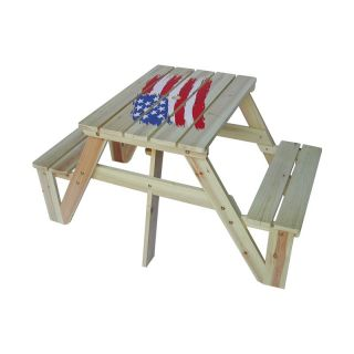 Kids Picnic Table   American Flag Multicolor   MM20331