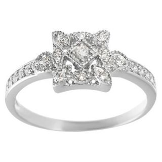 Tressa Collection Sterling Silver Cubic Zirconia Vintage Bridal Ring   Silver 7