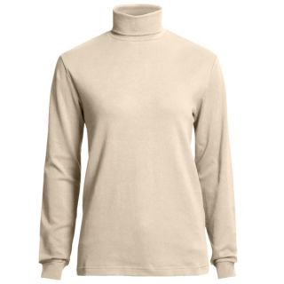 Woolrich Turtleneck Shirt   Interlock Cotton  Long Sleeve (For Women)   BLK BLACK (L )