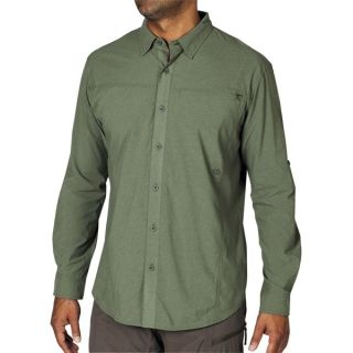 ExOfficio Dryfly Flex Shirt   UPF 30+  Button Front  Long Sleeve (For Men)   SEAWEED (XL )