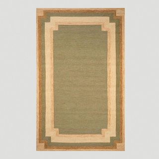Green and Gold Border Indoor Outdoor Rug   World Market
