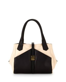 Hayden Colorblocked Leather Satchel Bag, Black/Nude