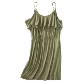 Mossimo Supply Co. Juniors Plus Size Sleeveless Ruffle Front Dress   Green 2