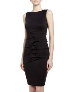 Lauren Tidal Pleated Ponte Sheath Dress, Black