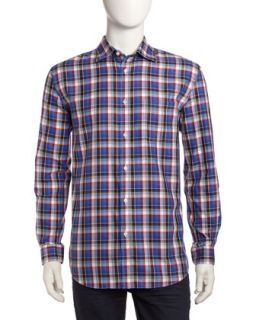 Non Iron Classic Fit Large Check Sport Shirt, Red/Multi