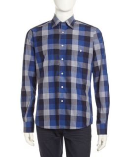 Luke Large Check Sport Shirt, Blue