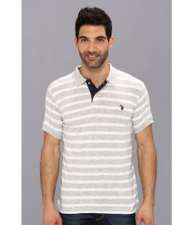U.S. Polo Assn Stripe Slub Polo Mens Short Sleeve Knit (White)