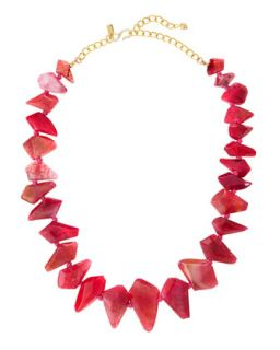 Graduated Kite Shaped Agate Necklace, Pink